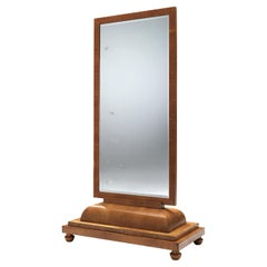Patinated Free-Standing Art Deco Mirror in Walnut and Glass