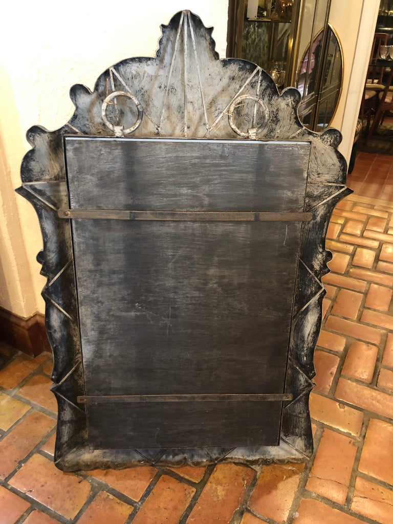 Mid-20th Century Patinated Gray Iron Mirror For Sale