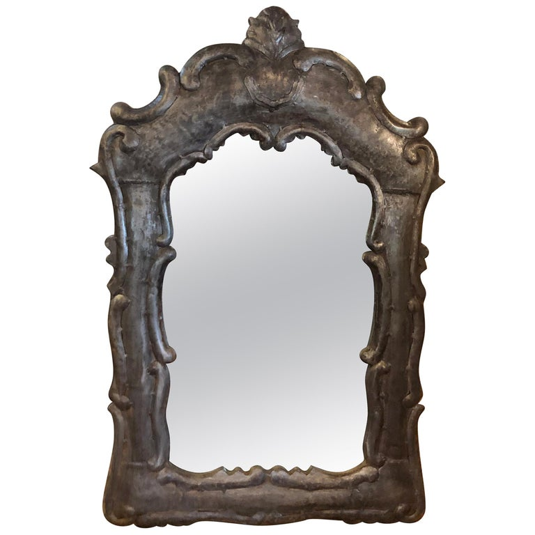 Patinated Gray Iron Mirror For Sale