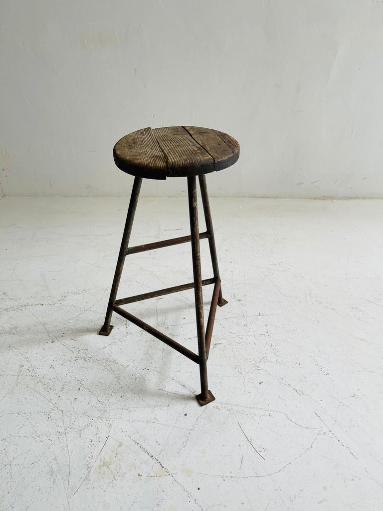 Patinated Industrial Factory Stools Group of Six, Austria, 1930s For Sale 4