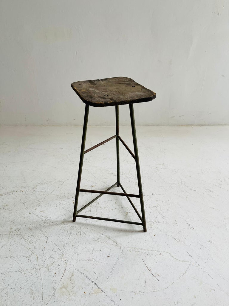 Patinated Industrial Factory Stools Group of Six, Austria, 1930s For Sale 5