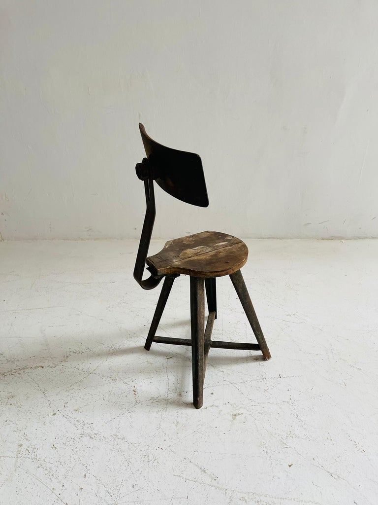 Patinated Industrial Factory Stools Group of Six, Austria, 1930s For Sale 6