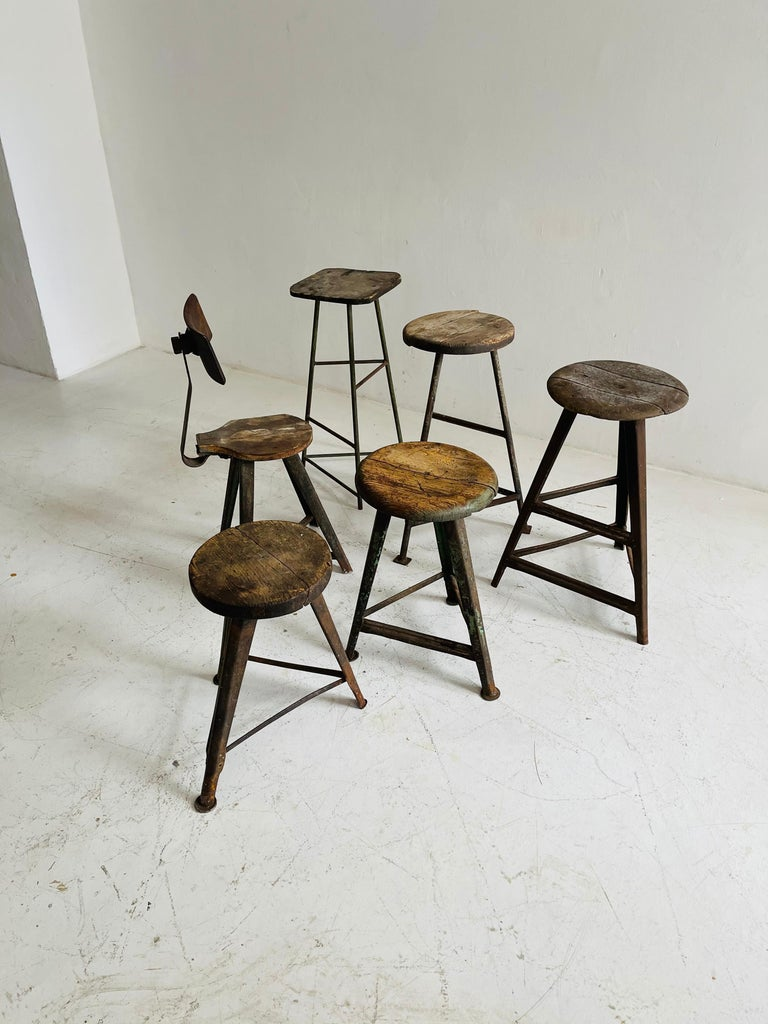 Austrian Patinated Industrial Factory Stools Group of Six, Austria, 1930s For Sale