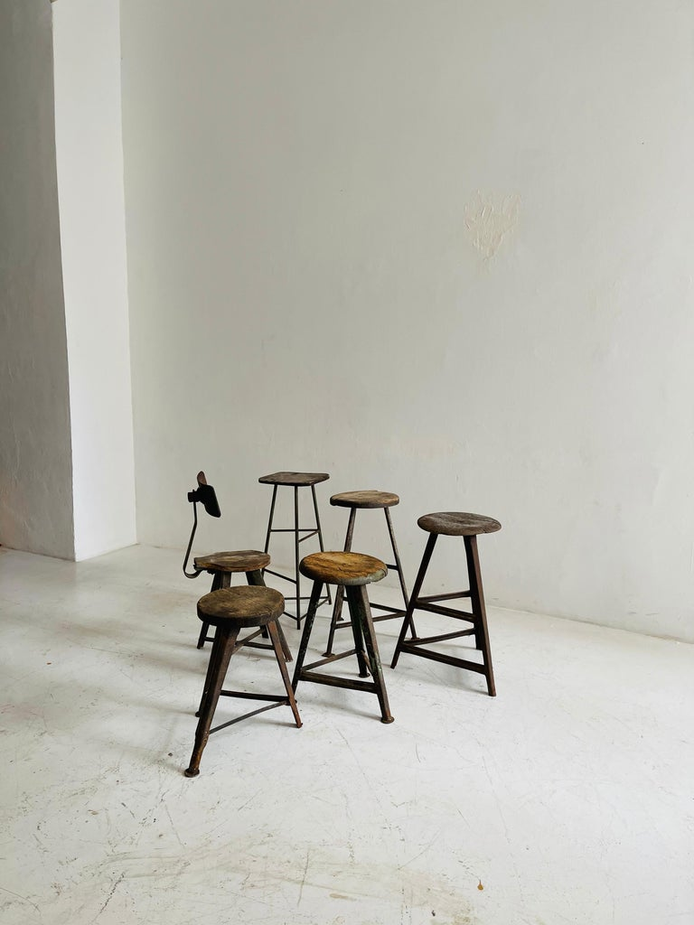 Patinated Industrial Factory Stools Group of Six, Austria, 1930s In Distressed Condition For Sale In Vienna, AT