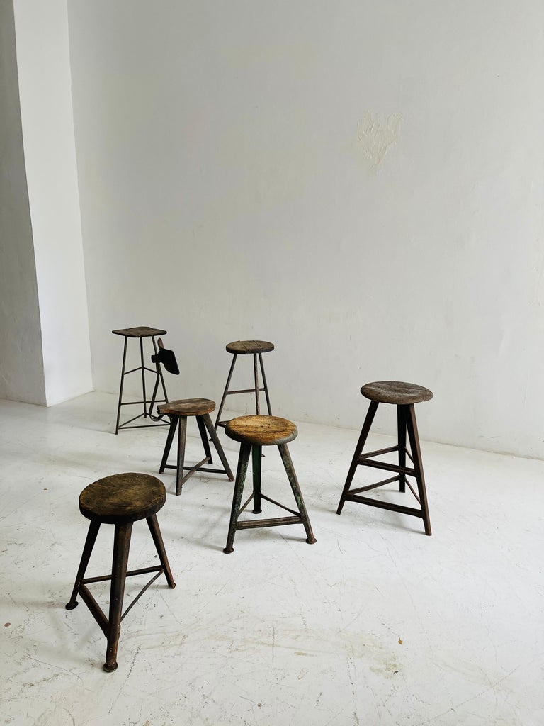 Mid-20th Century Patinated Industrial Factory Stools Group of Six, Austria, 1930s For Sale