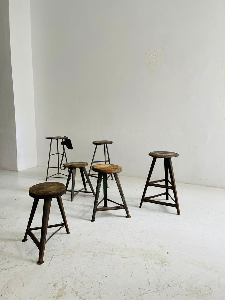 Metal Patinated Industrial Factory Stools Group of Six, Austria, 1930s For Sale