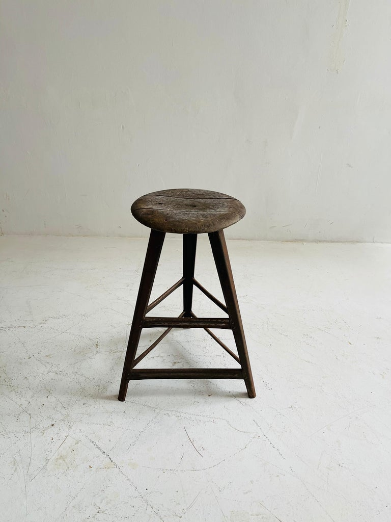 Patinated Industrial Factory Stools Group of Six, Austria, 1930s For Sale 1