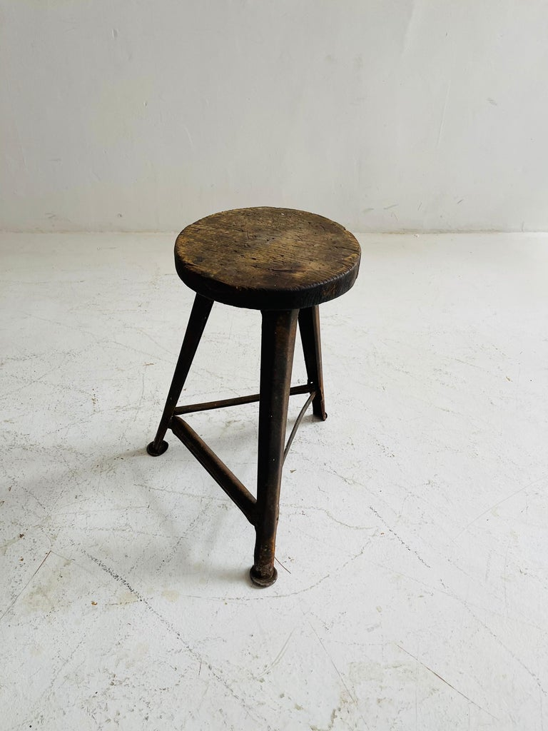 Patinated Industrial Factory Stools Group of Six, Austria, 1930s For Sale 2
