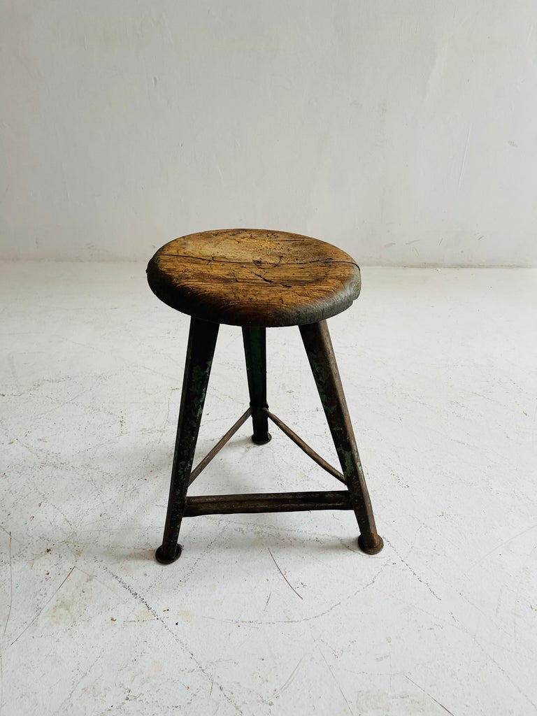 Patinated Industrial Factory Stools Group of Six, Austria, 1930s For Sale 3