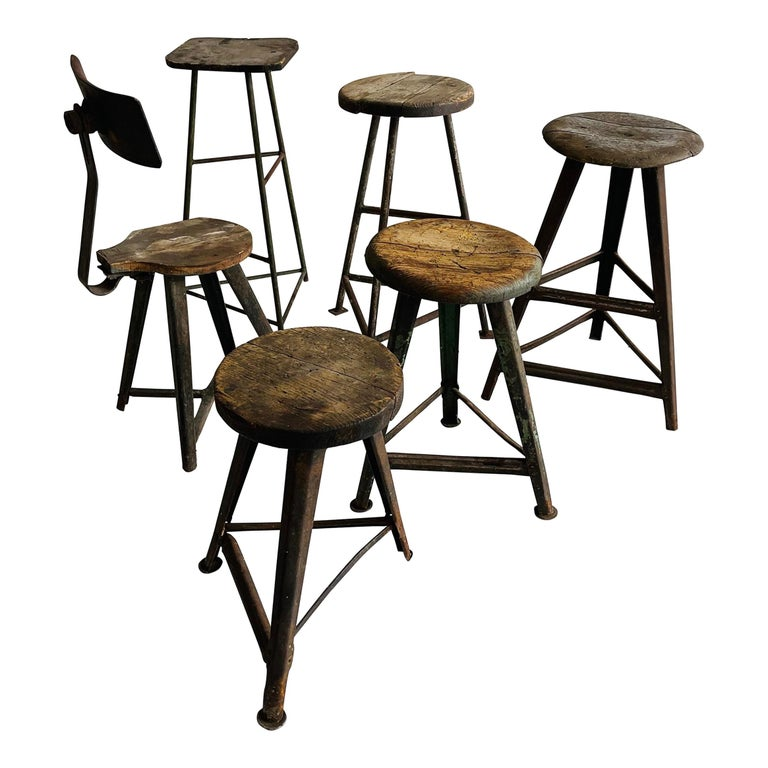 Patinated Industrial Factory Stools Group of Six, Austria, 1930s For Sale