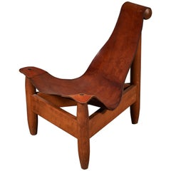 Patinated Leather Sling Chair