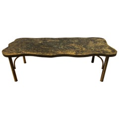Patinated Metal Coffee Table by Philip and Kelvin LaVerne