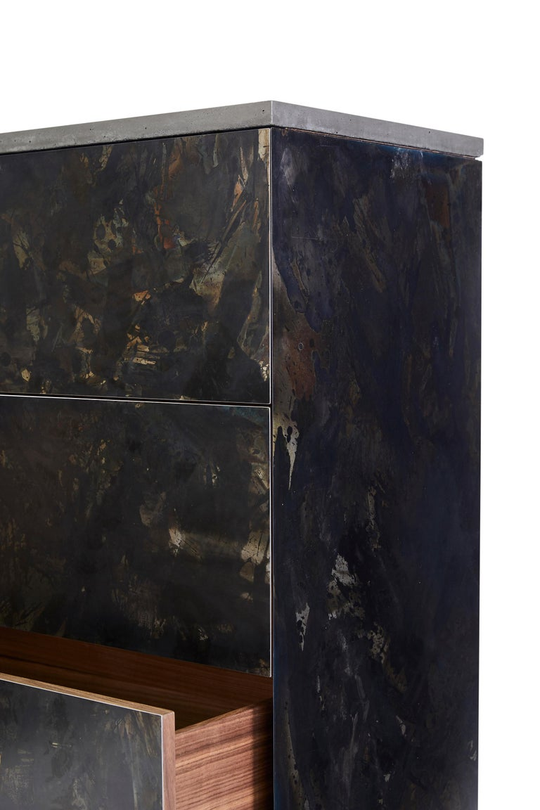 Contemporary Patinated or Blackened Steel