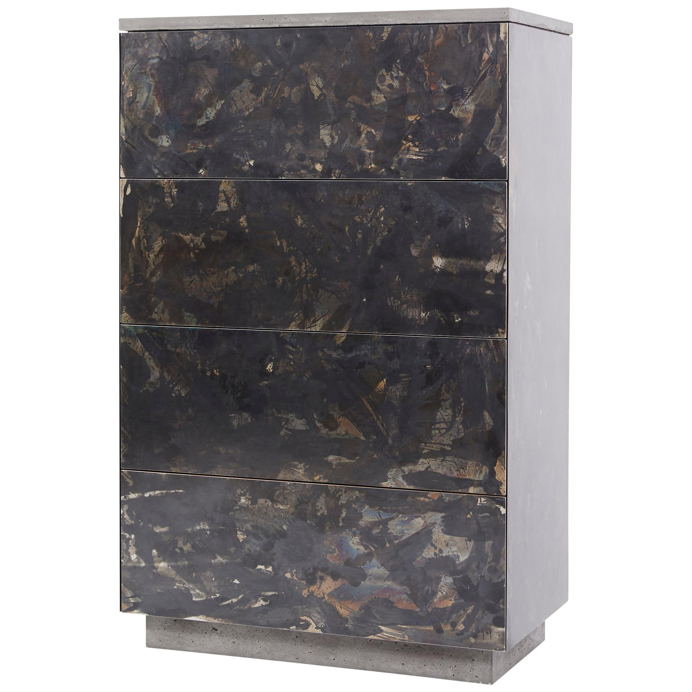 """Patinated or Blackened Steel """"Highboy"""" with Cast-Concrete and Walnut Interior"""