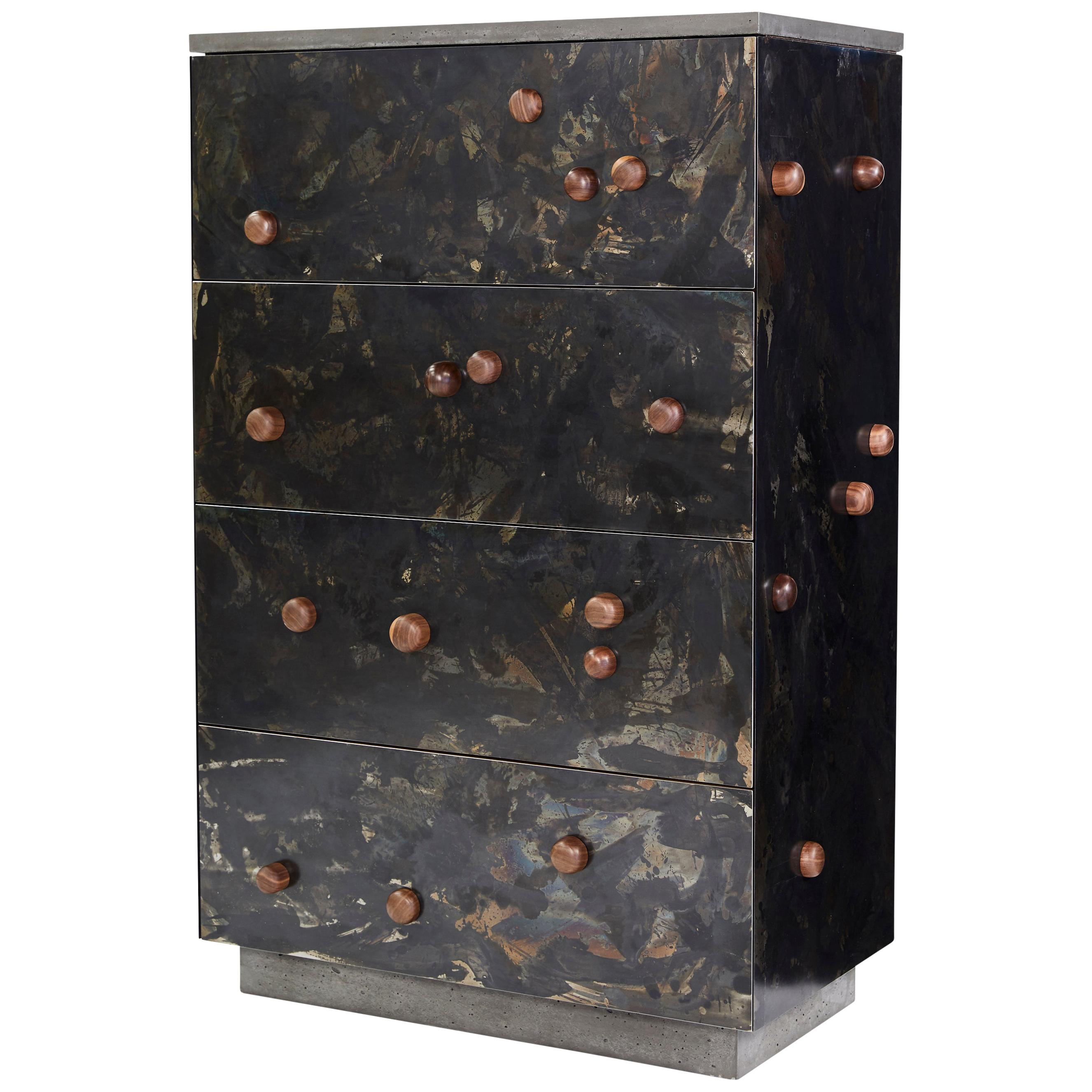 """Patinated Steel Veneer """"Highboy with Protrusions"""" in Walnut with Drawers"""