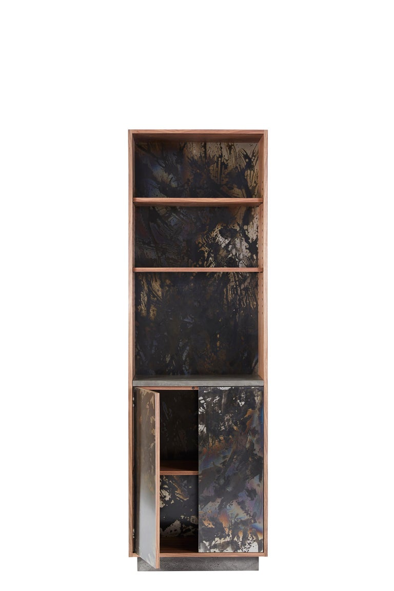 This piece features adjustable shelving with