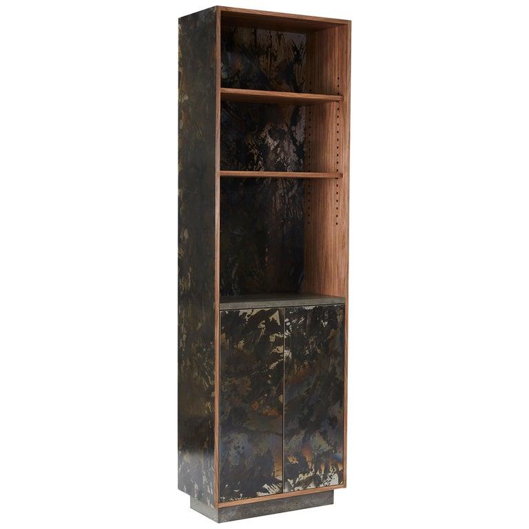 "Patinated or Blackened Steel Veneered ""Case"" in Walnut For Sale"