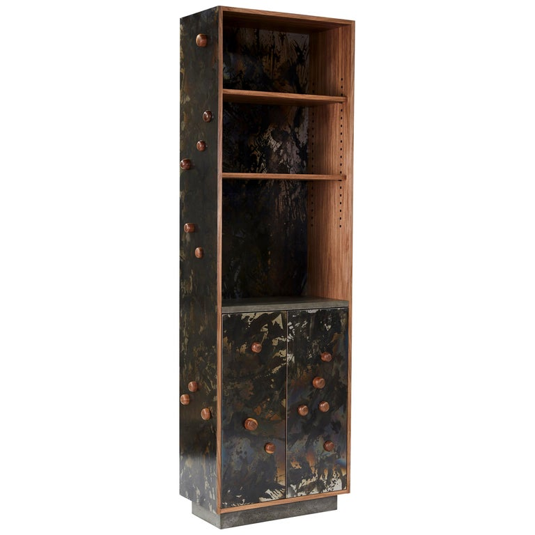 """Steel Veneer """"Case with Protrusions"""", Patinated or Blackened, in Walnut  For Sale"""