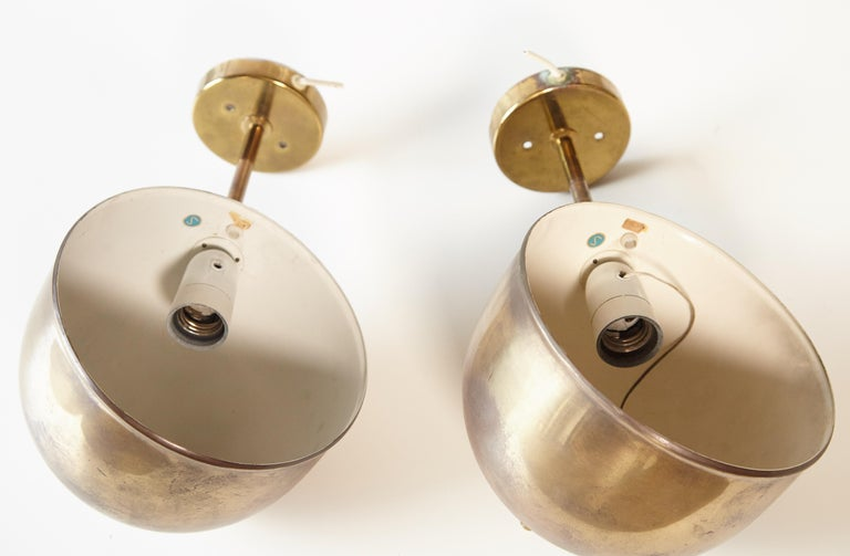 Patinated Pair of Brass Wall Lamps, Model G-075, Bergboms, Sweden, 1960s For Sale 6