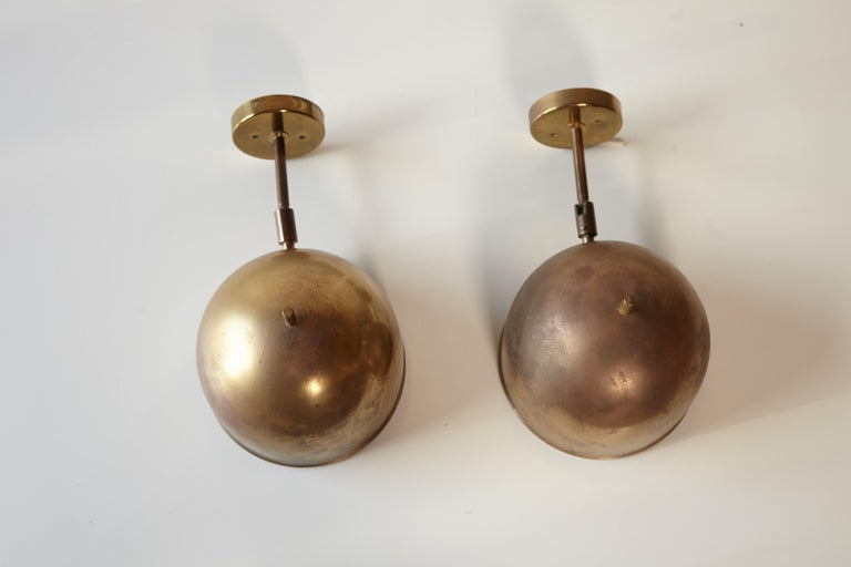 Patinated Pair of Brass Wall Lamps, Model G-075, Bergboms, Sweden, 1960s For Sale 3