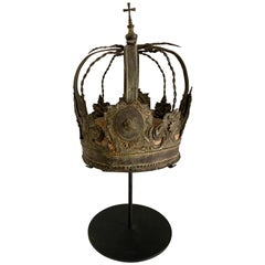 Patinated Repousse Brass Russian Crown on Stand