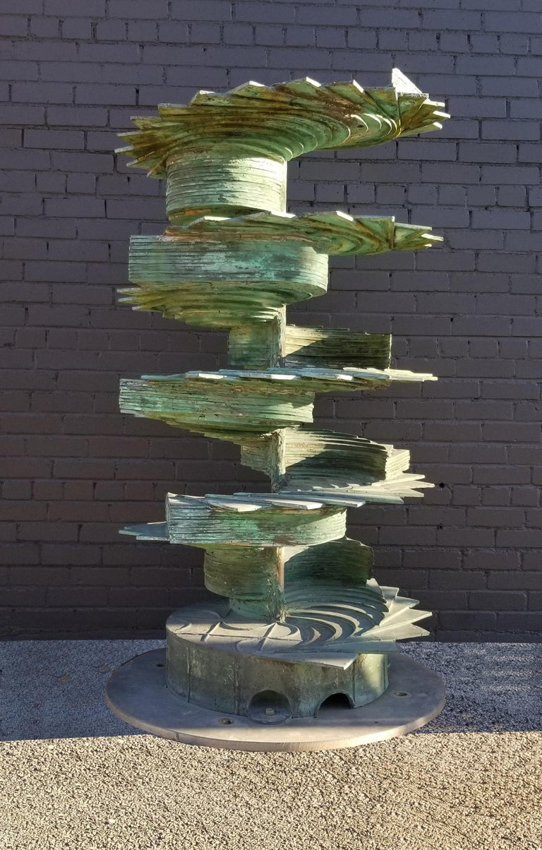 Mid-Century Modern Patinated Silicon Bronze Fountain Sculpture by Texas Artist Harvey J Bott For Sale