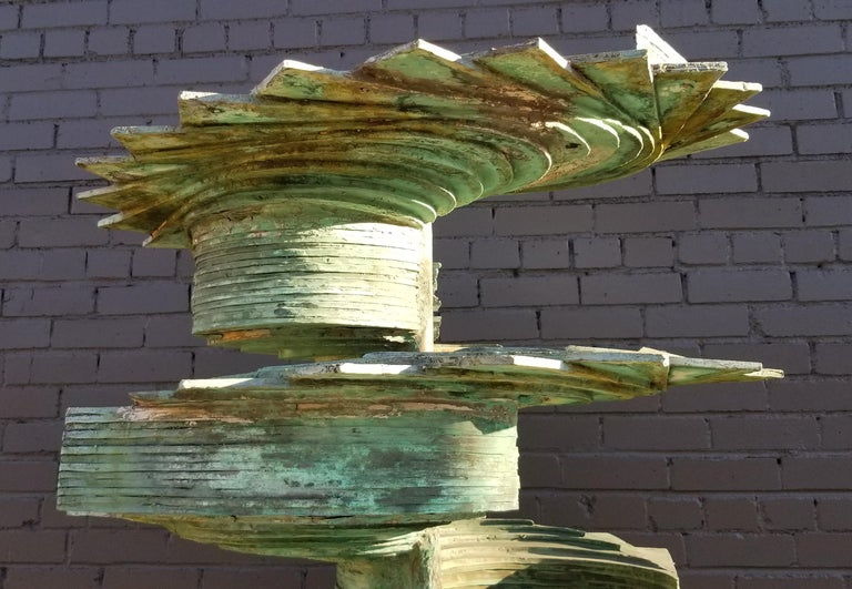 Cast Patinated Silicon Bronze Fountain Sculpture by Texas Artist Harvey J Bott For Sale