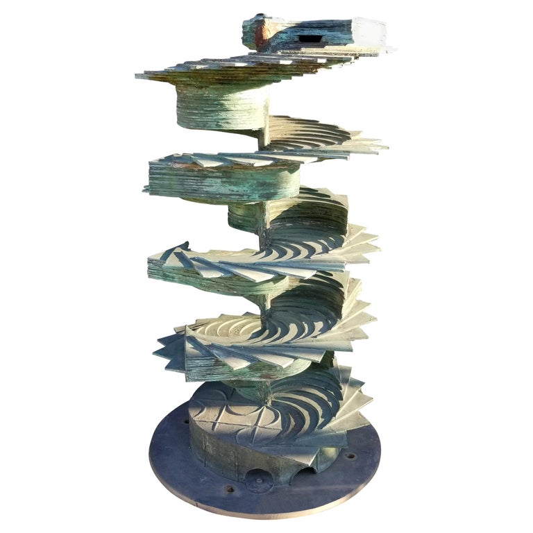 Patinated Silicon Bronze Fountain Sculpture by Texas Artist Harvey J Bott For Sale