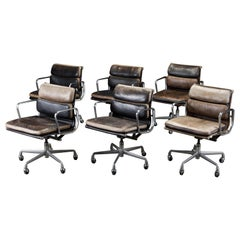 Patinated Soft Pad Desk Chairs by Charles Eames for Herman Miller, 1987, Signed