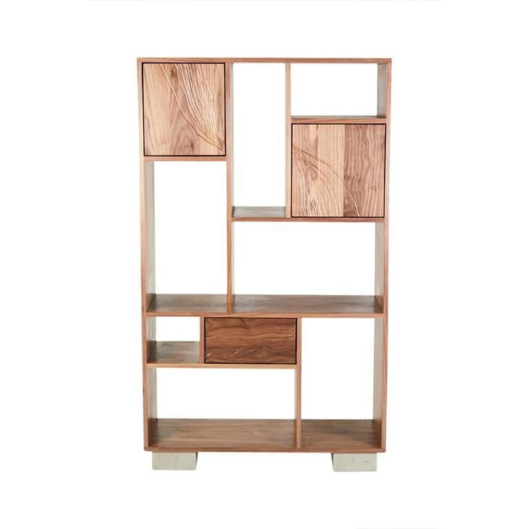 Modern Patinated Steel Étagère Shelving with Solid Walnut Drawn Faces and Concrete Base For Sale