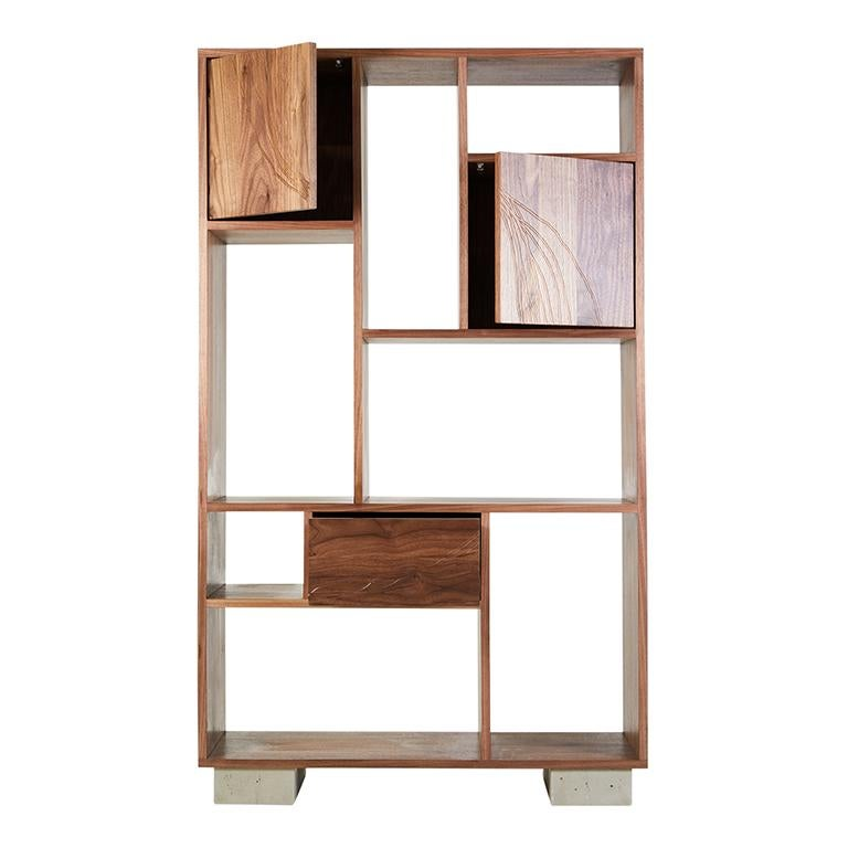 American Patinated Steel Étagère Shelving with Solid Walnut Drawn Faces and Concrete Base For Sale