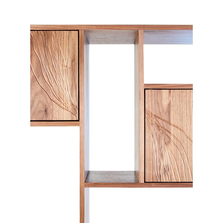 Cast Patinated Steel Étagère Shelving with Solid Walnut Drawn Faces and Concrete Base For Sale