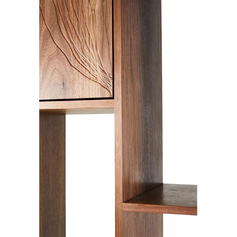 Contemporary Patinated Steel Étagère Shelving with Solid Walnut Drawn Faces and Concrete Base For Sale