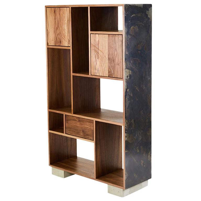 Patinated Steel Étagère Shelving with Solid Walnut Drawn Faces and Concrete Base For Sale