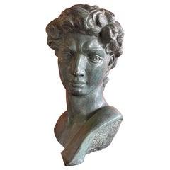 Patinated Verdigris Bronze Bust of Michelangelo's David by Felix de Weldon