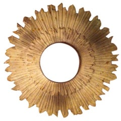 Patinated White Sunburst Ceiling Mount Attributed to E.F. Caldwell