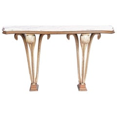 Patinated Wood and Marble Console, France, circa 1950