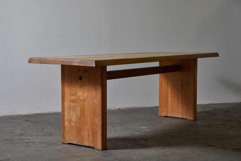 French Patinated Wood Dining Table by Pierre Chapo For Sale