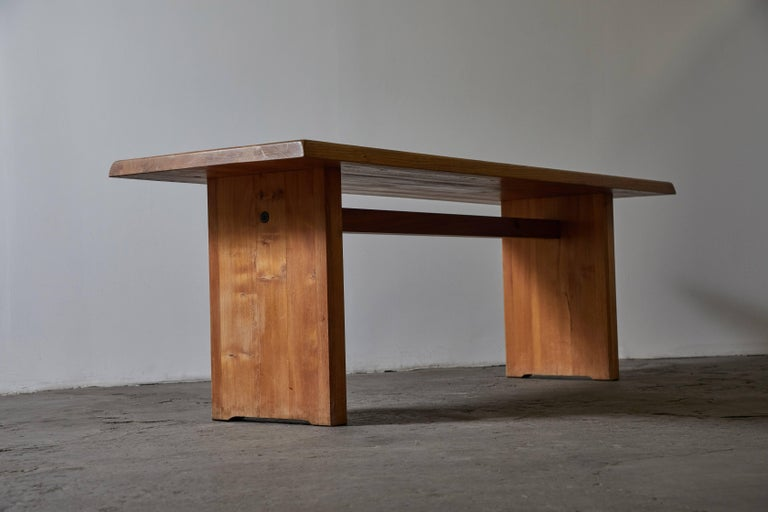 Patinated Wood Dining Table by Pierre Chapo In Good Condition For Sale In Los Angeles, CA