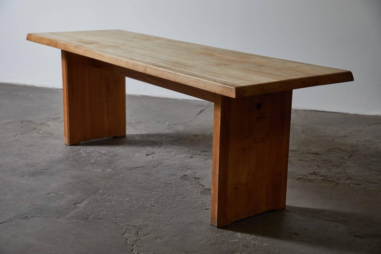 Elm Patinated Wood Dining Table by Pierre Chapo For Sale