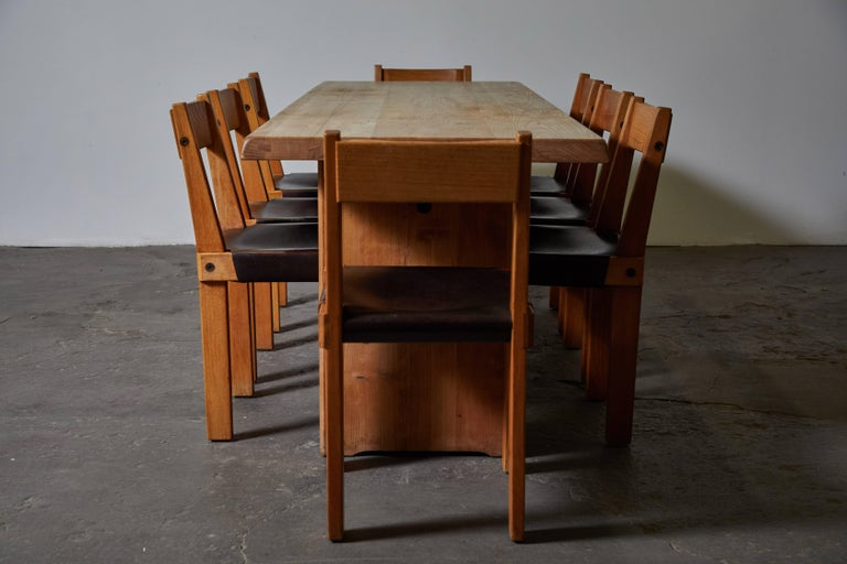 Patinated Wood Dining Table by Pierre Chapo For Sale 2