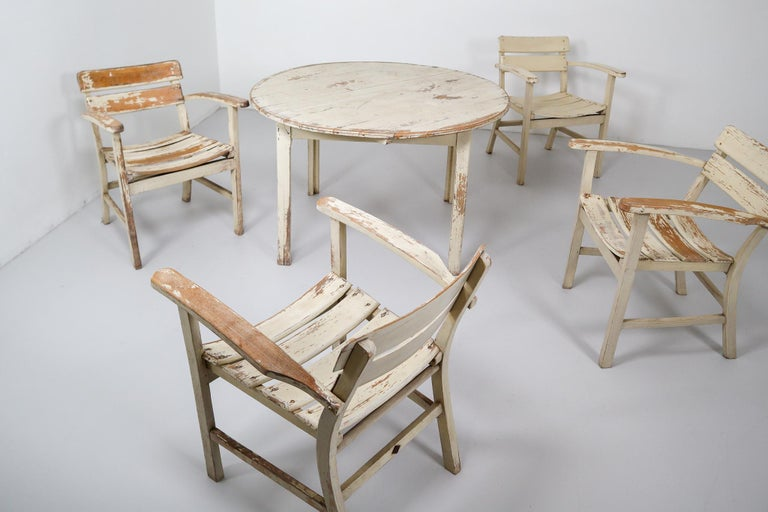 Patinated Wooden Garden Furniture, Germany, 1930s For Sale ...