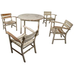 Patinated Wooden Garden Furniture, Germany, 1930s