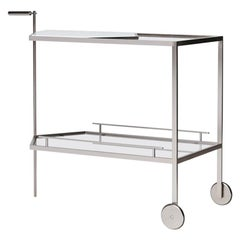 Patinted Brass and Carrara or Smoked Steel and Calacutta Marble Bar Cart