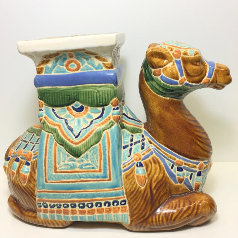 Mid-20th century glazed ceramic camel garden stool, flower pot seat or side table. Handcrafted ceramic. Nice addition to your home, patio or garden area.