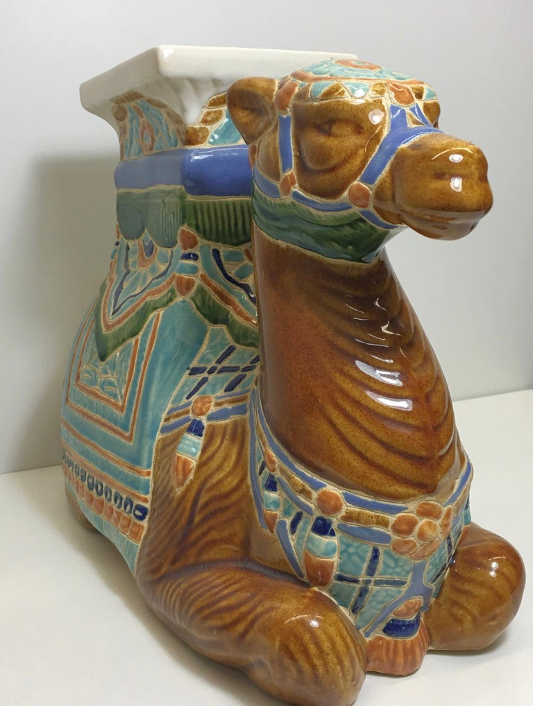 Mid-20th Century Patio Decoration Ceramic Hollywood Regency Camel Garden Stool or Side Table For Sale