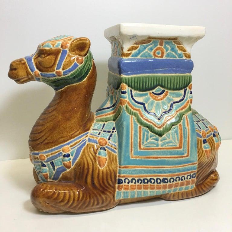 Patio Decoration Ceramic Hollywood Regency Camel Garden Stool or Side Table For Sale 1