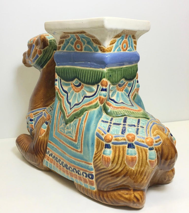 Patio Decoration Ceramic Hollywood Regency Camel Garden Stool or Side Table For Sale 2