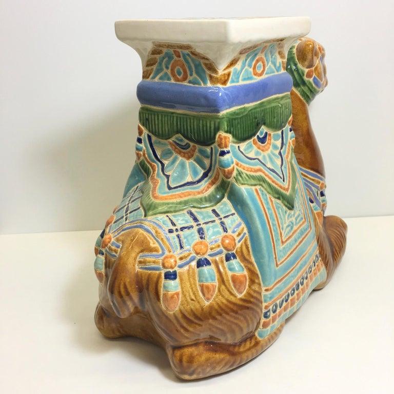 Patio Decoration Ceramic Hollywood Regency Camel Garden Stool or Side Table For Sale 3