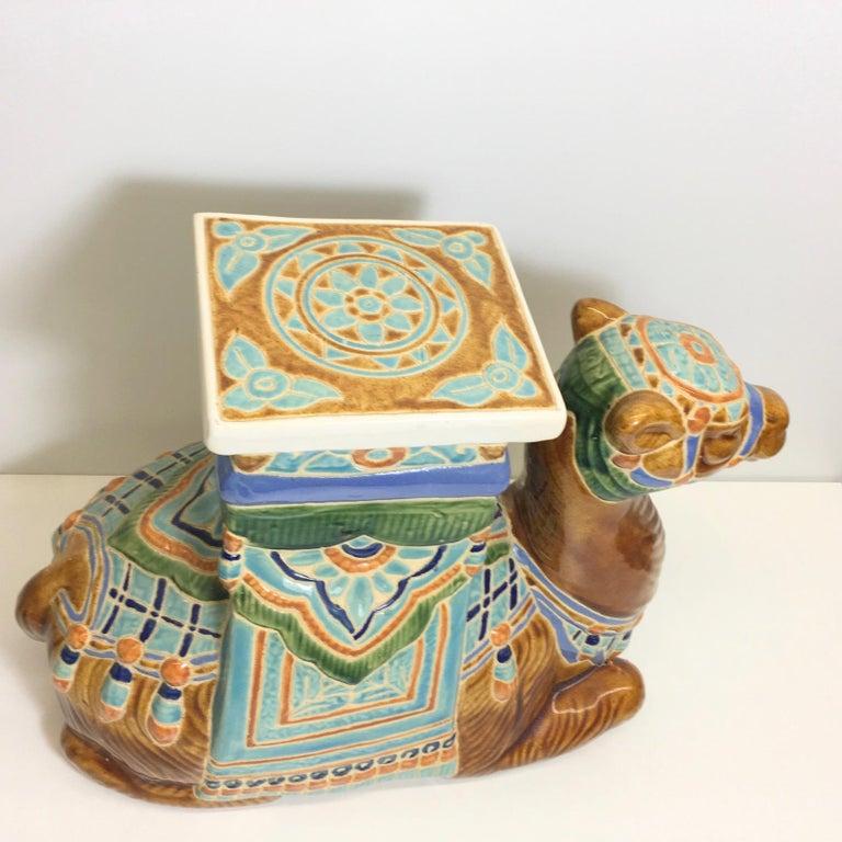 Patio Decoration Ceramic Hollywood Regency Camel Garden Stool or Side Table For Sale 4